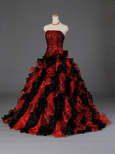 Red Quinceanera Dresses | Vestidos de Quinceanera | Sweet 15 | Quince dress | Red and Black Sequined Quinceanera Dress #quinceanera #quince #vestidos #sweet15