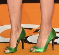 Kylie Minogue in emerald green peep-toe pumps