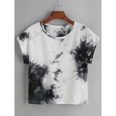 Color Block Tie Dye T-shirt found on Polyvore featuring polyvore, women's fashion, clothing, tops, t-shirts, black and white, polyester t shirts, summer crop tops, vintage t shirts and white and black t shirt
