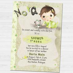 Nora shower invitation by babyartshop on Etsy Youre Invited, Shower Invitations, Thank You Cards, Clip Art, Digital, Prints, Fun, Etsy, Appreciation Cards