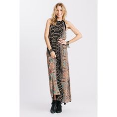 Karen Zambos Nepal Print Swanky Dress Bohemian inspired Nepal print swanky dress. Chiffon contrast detail at shoulders. Zipper closure on back. Lined. Fall 2015 Collection. Also available in Petite and Small. Karen Zambos Dresses