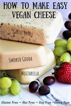 Showing you an easy way to make homemade vegan cheese with coconut milk and no nuts. Rich and creamy vegan cheese that melts and slices perfectly. Simply make a few adjustments to make garlic herb, smoked gouda, mozzarella, and provolone. Easy Vegan Cheese Recipe, Dairy Free Cheese, Tapioca Cheese Recipe, Easy Vegan Dishes, Lait Vegan, Fromage Vegan, Dairy Free Recipes, Raw Food Recipes, Vegan Gluten Free
