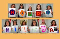 Greeting Card; Using a digital camera, take a photo of your child (or children) dressed up in different outfits, holding the letters to spell out your greeting / From dream-it-make-it