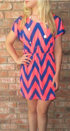 Pink and Blue Chevron Dress To buy click on link.. http://southernblissboutique.mybigcommerce.com/neon-coral-dress/