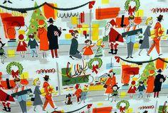 retro Christmas | Retro Christmas shopping fabric