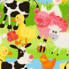 Amazon.com: Farm Yard Animals Flannel Fabric: Arts, Crafts & Sewing