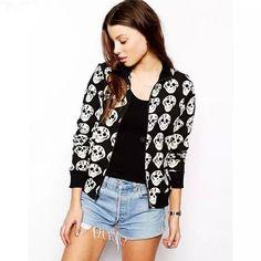 Laluna New Fashion Spring Autumn Women Jacket Full Sleeve Skulls Print Casual Jackets Women Slim Chaquetas Mujer Free Shipping