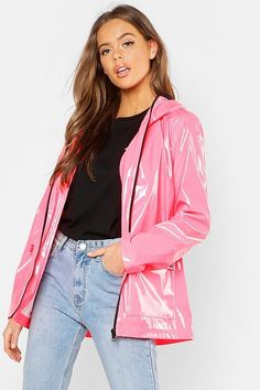 Click here to find out about the Patent Festival Mac from Boohoo, part of our latest Coats & Jackets collection ready to shop online today! Girls Raincoat, Green Raincoat, Raincoat Jacket, Hooded Raincoat, Nylons, Coloured Leather Jacket, Holographic Fashion, Vinyl Clothing, Outfits
