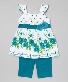 Look what I found on #zulily! Teal Floral Tunic & Capris - Infant, Toddler & Girls #zulilyfinds