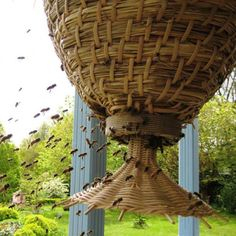 The Sun Hive is a hanging honeybee hive designed by Günther Mancke and which is growing in popularity in the UK and elsewhere. It was designed around the needs of pollinating bees and colony health and preferences, and not around prioritizing honey production. As such, it's thought to be much better for sustaining bee populations. It's also quite beautiful.