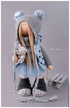 """Человечки ручной работы. Ярмарка Мастеров - ручная работа. Купить """"ТЕДДИ МЕДВЕДИ"""". Handmade. Голубой, зима, тильда, интерьерная кукла"""