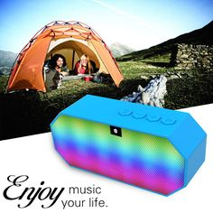 Creative colorful led light dual trumpets portable TF card plug bluetooth stereo 3D surround speaker for outdoor travel