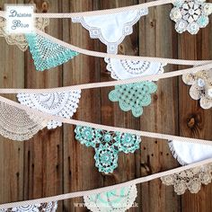 Wedding Doily Crochet Vintage Bunting (Lily of the Valley) Green White Cream £40.00