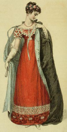 Ackermann's Repository of Arts: February Historical Women, Historical Images, Historical Clothing, 1800s Clothing, Clothing And Textile, Regency Dress, Regency Era, Fashion Art, Vintage Fashion