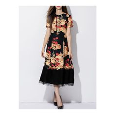 SheIn(sheinside) Black Tie Neck Print A-Line Dress ($77) ❤ liked on Polyvore featuring dresses, black, short sleeve dress, neck-tie, tie neck tie, sleeved dresses and a line silhouette dress