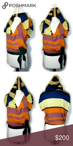 Dries Van Noten Hooded Colorblock Wrap Top Like new. Stock photo only to show the collection this is from.  See comments. Dries Van Noten Sweaters