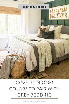 A cozy bedroom is a perfect retreat in our homes. Learn how to pair cozy colors with grey bedding for a comfortable and inviting combination.  #fromhousetohaven #greybedding #cozybedroom #bedroomdecor #fallbedroomdecor #falldecorating #kingbed #fallbedding