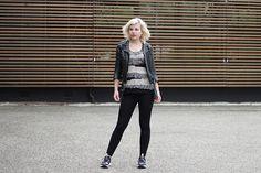 RED REIDING HOOD: www.redreidinghood.com Fashion blogger wearing mango knit top reebok furylite sr sneakers leather jacket outfit