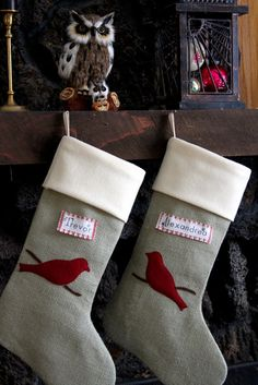 Personalized Burlap Christmas Stocking, RED BIRD on BRANCH, green burlap with hand stamped tag. $59.99, via Etsy.