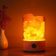 Home Office Decor Relaxing Negative Ion Himalayan Salt Lamp With Dimmer Bluetooth Speaker Delicious In Taste Table Lamps Lights & Lighting