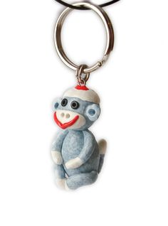 Sock Monkey Keychain Handmade in Polymer Clay by MagicByLeah