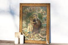 French vintage old gold frame with a picture by Frenchvintagecharm #Vintage#Etsy#Brocante#Flea market#Frenchvintagecharm