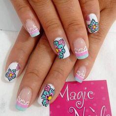 summer nail art ideas you'll wish to try 22 ~ thereds. Cute Spring Nails, Summer Nails, French Nails, Hello Nails, Mandala Nails, Nail Pops, Magic Nails, Tribal Nails, Fall Nail Art Designs
