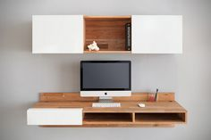 Love this manufacturers product. Have their storage bed with headboard( that looks very much like the floating piece above the desk, and their wall mounted floating Hi-Fi cabinet in our entrance way. Well made, all oak, just a gorgeous product.! Wall Mounted Desk by MASHstudios 1