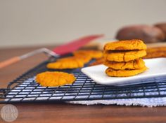 Easy Sweet Potato Cookies - Baby Led Weaning Ideas. Egg-free, gluten-free, sugar-free.  These cookies are just 4 ingredients. There's no added sugar, and your baby will love them! Add some sweet cinnamon glaze, and the whole family will enjoy them.