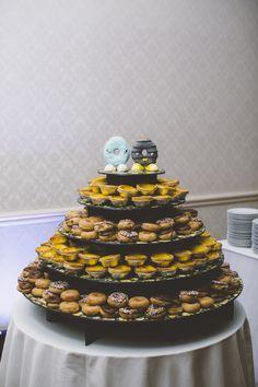 donut wedding cake (with Krispy Kreme mini donuts and Chinese egg tarts)