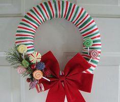 christmas wreath- wrap ribbon around a foam wreath hot glue gun a bow and fake lollipops add part of a wreath for added umph!