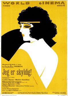 "Sven Brasch Louse Glaum & Mahlon Hamilton in ""Jeg er skyldig! Item was passed Art Deco Posters, Cool Posters, Poster Prints, Movie Posters, Vintage Ephemera, Vintage Ads, Vintage Posters, Art Deco Illustration, Graphic Design Illustration"