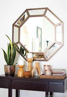 Large octagon mirror for the entryway