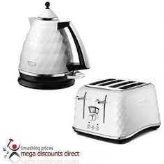 DeLonghi Brillante White Fast Boil Kettle and Toaster KBJ3001.W / CTJ4003.W