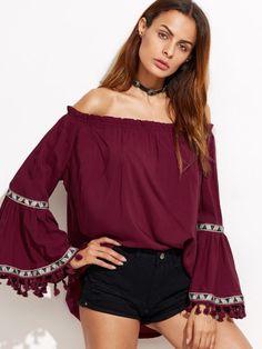 Burgundy Off The Shoulder Fringe Embroidered Blouse