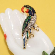 Vintage D'Orlan Amazonian Enamel/Rhinestone Parrot Brooch Pin