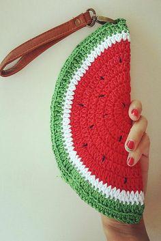 A cute, watermelon clutch crochet pattern!