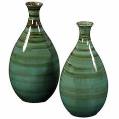"""Set of 2 teal and green striped ceramic vases; 14""""H x 7""""; 16"""" H x 8""""; $102 for both.  Too bad they aren't glass..."""