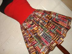 Full Skater / Circle Style Book Lovers Mini Skirt - Library Book Print Skirt - Geek Clothing -  Fits to Plus Sizes - Made to Order