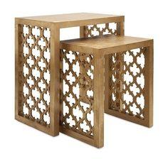 Quatrefoil Gold Side Table Set