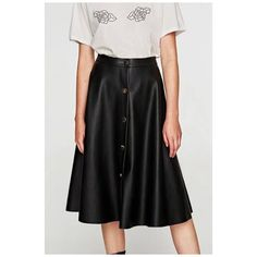 New Arrival High Waist Simple Plain Buttons Down Midi A-Line PU Skirt ($36) ❤ liked on Polyvore featuring skirts, high waisted knee length skirt, pu skirt, high-waisted skirt, button-down skirts and a-line skirts