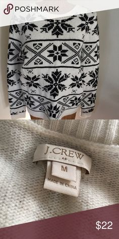 Black & White Patterned J. Crew Sweater Black and white J. Crew crewneck sweater. Pattern is on the front and sleeves. Made of viscose, nylon, and merino wool blend. Perfect condition. J. Crew Sweaters Crew & Scoop Necks