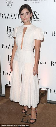 Exuding elegance: Jenna Coleman looked exquisite on Thursday night, as she attendedHarper...