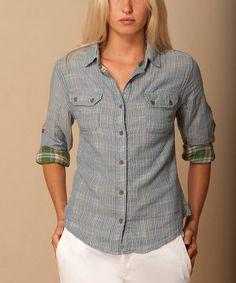 Look at this #zulilyfind! Blue & Green Plaid Button-Up by JACHS Girlfriend #zulilyfinds