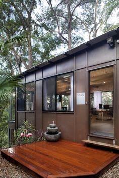 This is the POMO bush studio Sunshine Coast Queensland Australia. This is an outside shot of our cool office design, awesome office design architectural office design.