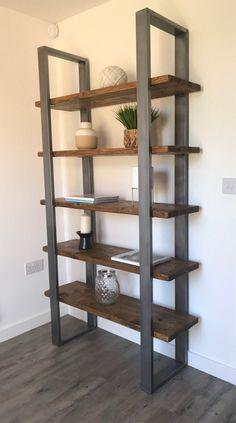 Welded Furniture, Home Decor Furniture, Furniture Projects, Diy Home Decor, Furniture Design, Wood Shelving Units, Timber Shelves, Industrial Shelving, Wood And Metal Shelves