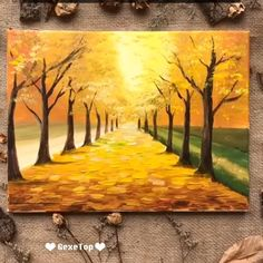Art Discover What an incredible art work Acrylic Painting Tutorials Simple Acrylic Paintings Painting Videos Texture Painting On Canvas Autumn Painting Landscape Art Landscape Paintings Impressionist Landscape Small Canvas Art Fall Canvas Painting, Easy Canvas Art, Canvas Painting Tutorials, Autumn Painting, Painting Videos, Autumn Art, Canvas Canvas, Road Painting, Beach Canvas