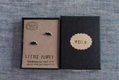 """Cute black glazed Porcelain """"LITTLE FLUFFY"""" clouds stud earrings by TenaciousBloom on Etsy"""