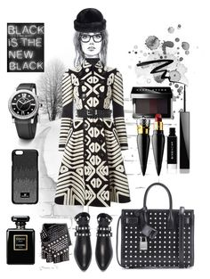 """Black winter"" by dave-nguyen on Polyvore featuring Yves Saint Laurent, Burberry, Bobbi Brown Cosmetics, Overland Sheepskin Co., Swarovski, David Yurman, Chanel, Christian Louboutin, Givenchy and Eyeko"