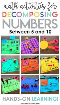 Decomposing Math Center Activities - A Kinderteacher Life Decomposing numbers for kindergarten and first grade! Hands-on activities for practicing decomposing numbers in more than 1 way, finding the number that makes 5 and 10 and writing equations. Numbers Kindergarten, Kindergarten Math Activities, Math Numbers, Teaching Math, Decomposing Numbers, Preschool, Center Ideas For Kindergarten, Math Activities For Kindergarten, Subitizing Activities